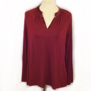 SOFT SURROUNDINGS VELVET ACCENT LONG SLEEVE BLOUSE